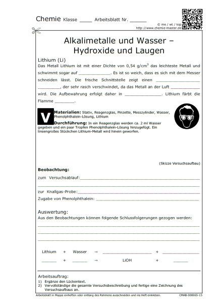 Chemie Master Arbeitsblätter