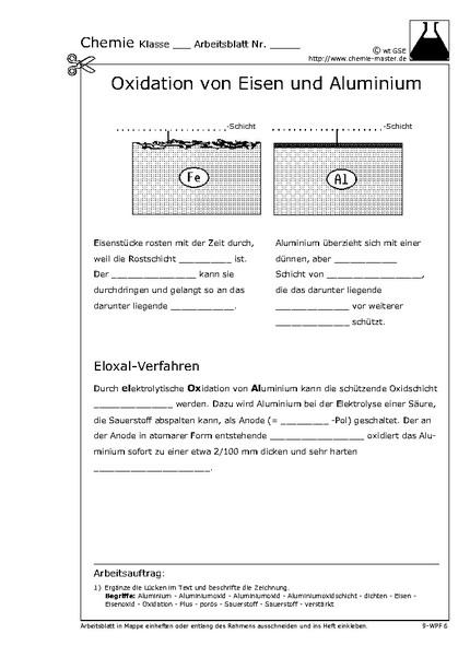 oxidation von eisen und aluminium chemie website f r den chemieunterricht. Black Bedroom Furniture Sets. Home Design Ideas